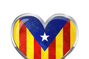 Heart shaped Catalonia flag