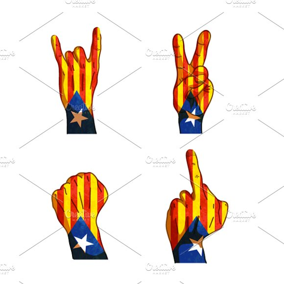 Hand Signs With Catalonia Flag