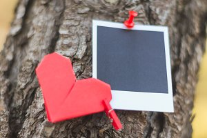 Instant photo with origami heart