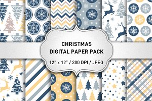 Blue Christmas Digital Papers