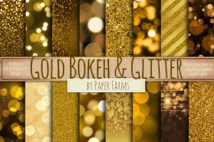 Gold glitter and bokeh