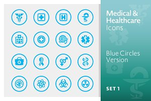 Medical Icons Set 1 - Blue Circles