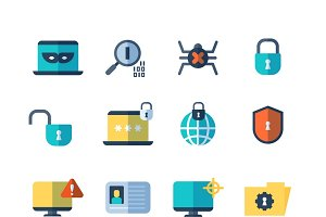 Web security vector flat icons