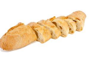 Bread (baguette) is cut.