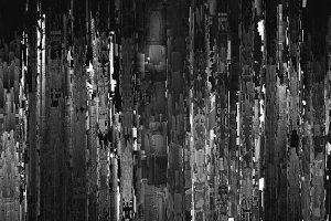Vertical black and white night city abstract illustration