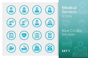 Blue Medical Services Icons - Set 1