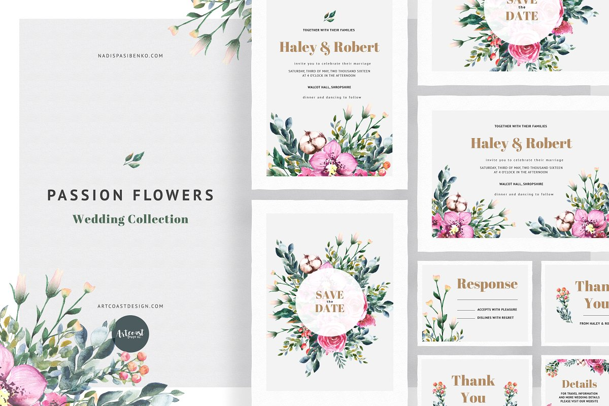Passion Flowers Invitation | Creative Wedding Templates ~ Creative ...