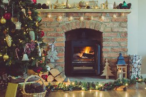 Christmas tree, decorated fireplace