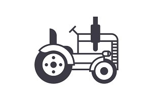 tractor vector line icon, sign, illustration on background, editable strokes