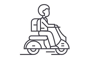 travel scooter vector line icon, sign, illustration on background, editable strokes