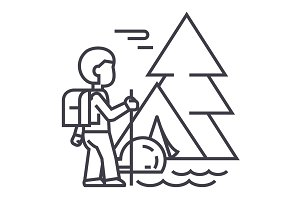 traveller in forest,tourist hiking, tent vector line icon, sign, illustration on background, editable strokes