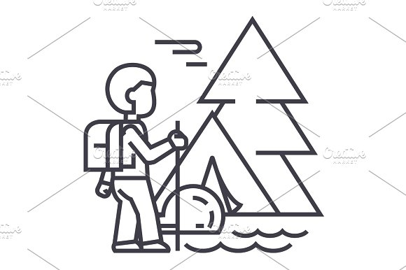 Traveller In Forest Tourist Hiking Tent Vector Line Icon Sign Illustration On Background Editable Strokes