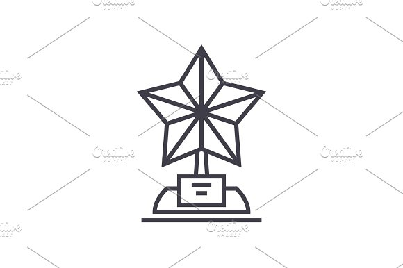 Trophy Star Vector Line Icon Sign Illustration On Background Editable Strokes
