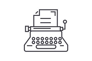 typewriter,writer,writing,copywriting vector line icon, sign, illustration on background, editable strokes