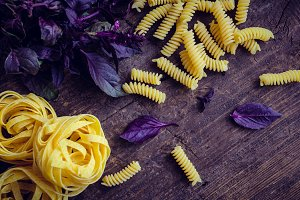 Pasta with purple basil