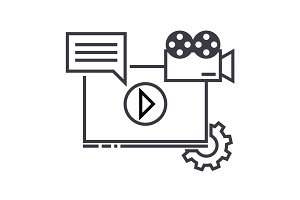 video marketing vector line icon, sign, illustration on background, editable strokes