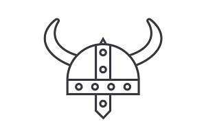 viking helmet vector line icon, sign, illustration on background, editable strokes