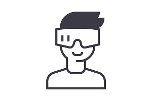 virtual reality, glasses headset vector line icon, sign, illustration on background, editable strokes