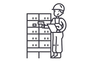 warehouse,delivery man checking barcode on post boxes vector line icon, sign, illustration on background, editable strokes