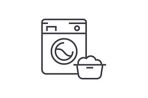 washing machine,laundry service vector line icon, sign, illustration on background, editable strokes