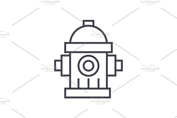 Water Tower Hydrant Vector Line Icon Sign Illustration On Background Editable Strokes