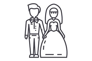 wedding couple,bride and groom vector line icon, sign, illustration on background, editable strokes