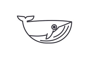 whale vector line icon, sign, illustration on background, editable strokes