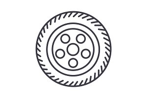 wheel car vector line icon, sign, illustration on background, editable strokes