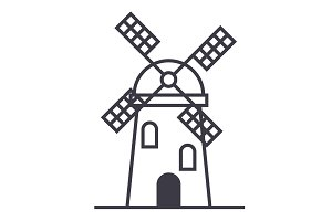 windmill sign vector line icon, sign, illustration on background, editable strokes