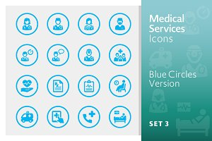 Blue Medical Services Icons - Set 3