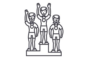 winner podium, sport team,first place,olympics vector line icon, sign, illustration on background, editable strokes