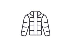 winter jacket,downjacket,outdoor clothes vector line icon, sign, illustration on background, editable strokes