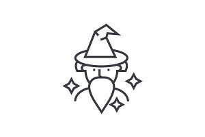wizard, sorcerer vector line icon, sign, illustration on background, editable strokes