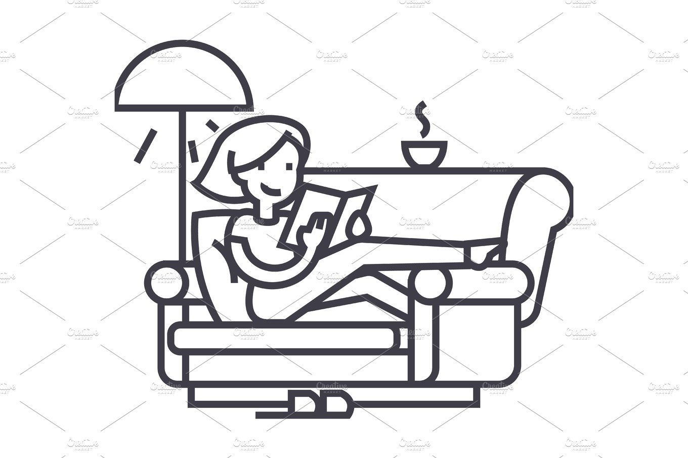 woman at home at sofa reading book with tea and lamp