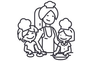 woman cooking with kids vector line icon, sign, illustration on background, editable strokes