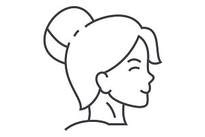 woman face profile vector line icon, sign, illustration on background, editable strokes