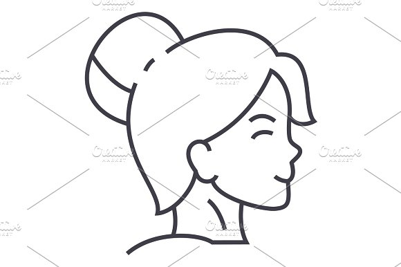 woman face profile vector line icon sign illustration on