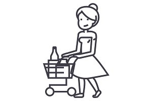 woman shopping in supermarket with cart vector line icon, sign, illustration on background, editable strokes