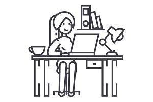 woman working on the office table,office interior,freelancer vector line icon, sign, illustration on background, editable strokes