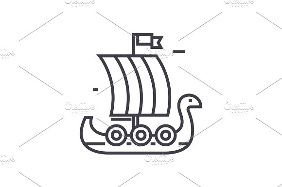 wooden viking ship vector line icon, sign, illustration on background, editable strokes