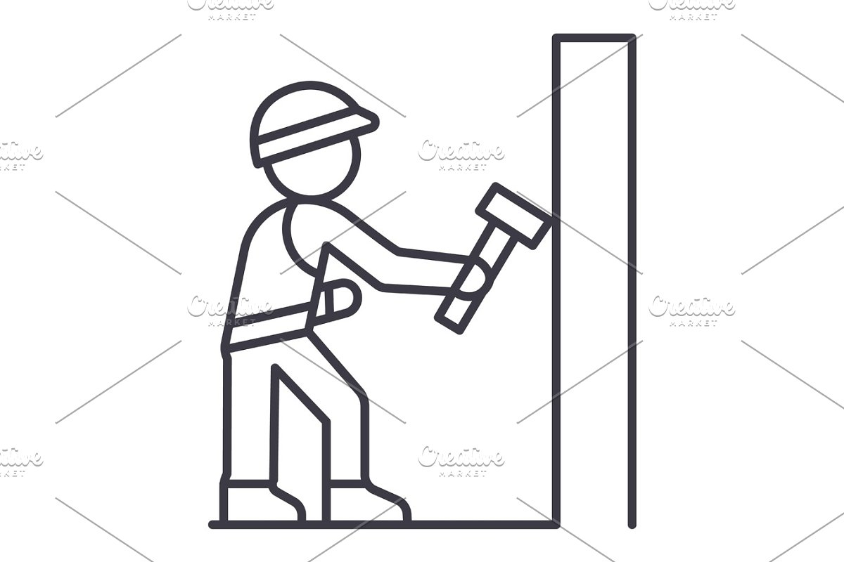 worker builder with hammer vector line icon, sign, illustration on background, editable strokes