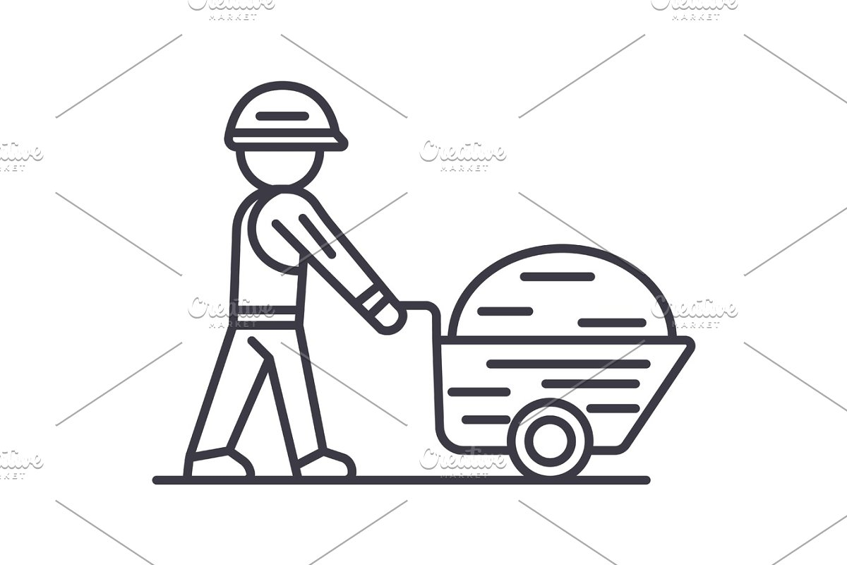 worker builder with wheelbarrow vector line icon, sign, illustration on background, editable strokes
