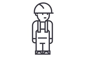 worker engineer vector line icon, sign, illustration on background, editable strokes