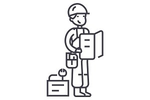 worker with plan and tools vector line icon, sign, illustration on background, editable strokes