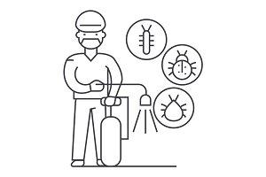 worker,bug destroyer vector line icon, sign, illustration on background, editable strokes