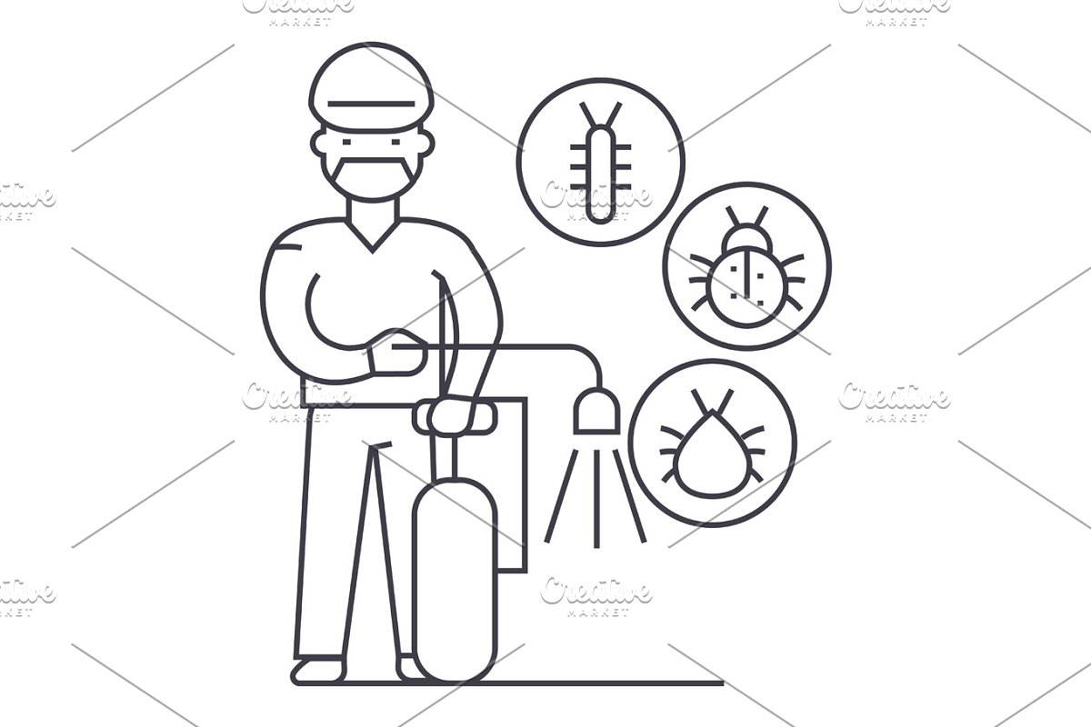 worker,bug destroyer vector line icon, sign, illustration on background, editable strokes