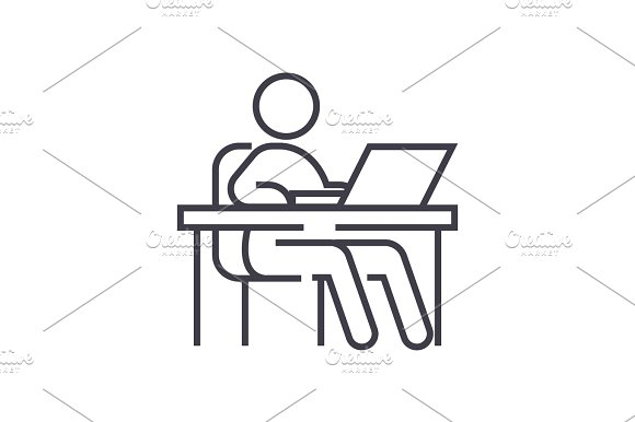 working at table,workplace,management vector line icon, sign, illustration on background, editable strokes