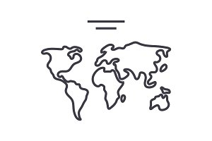 world map  vector line icon, sign, illustration on background, editable strokes
