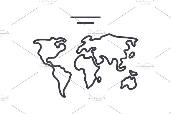 world map  vector line icon, sign, illustration on background, editable strokes in Illustrations
