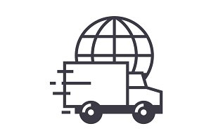 worldwide delivery vector line icon, sign, illustration on background, editable strokes
